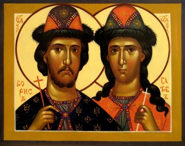 კეთილმორწმუნენი მთავარნი, მოწამენი ბორისი და გლები, წმიდა ნათლისღებით - რომანოზი და დავითი